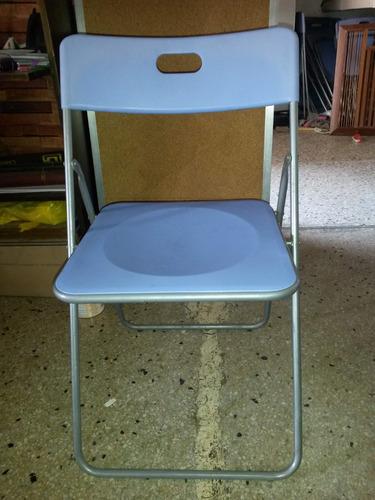 silla plegable de plastico y acero inoxidable