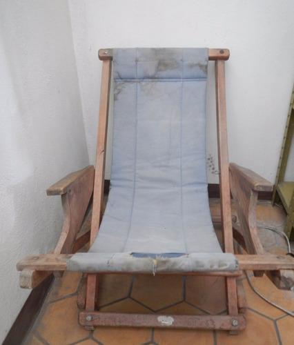 silla plegable madera fuerte y pesada (tela dañada) 112 x 68