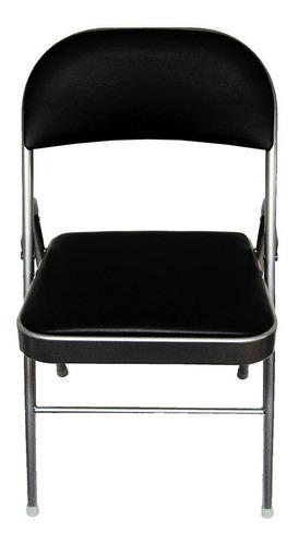 silla plegable metálica vinil negro