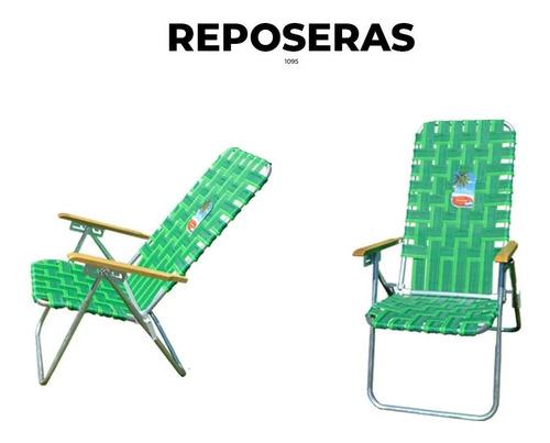 silla reposera alta solcito playera aluminio 5 pos plegable