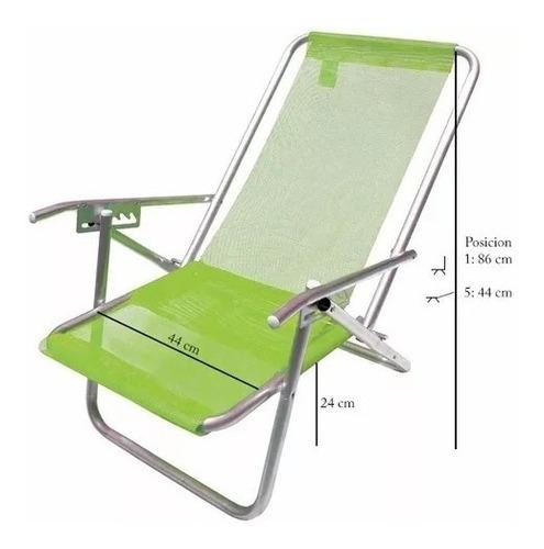 silla reposera aluminio botafogo 5 posiciones ultra liviana