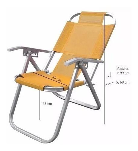 silla reposera aluminio botafogo grand ipanema reforzada