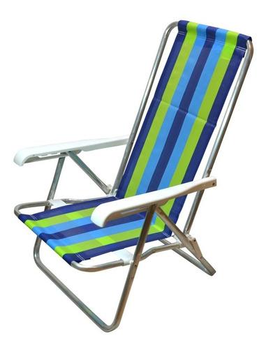 silla reposera mor 4 posiciones aluminio resistente cuotas