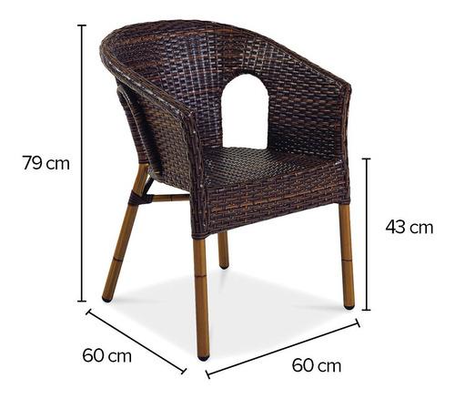 silla royal deluxe con brazos mimbre café marca durex