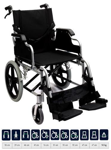 silla ruedas traslado plegable aluminio lujo compacta ligera
