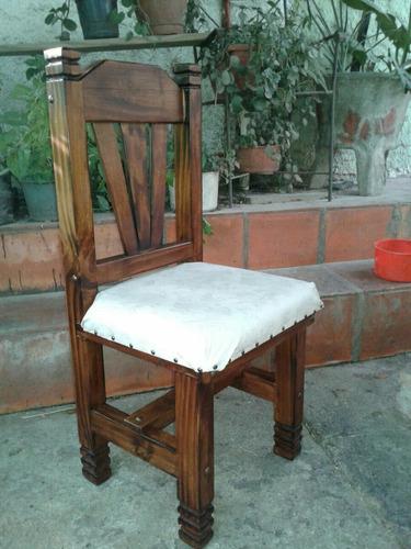 silla  rustica tapizada, de madera para comedor