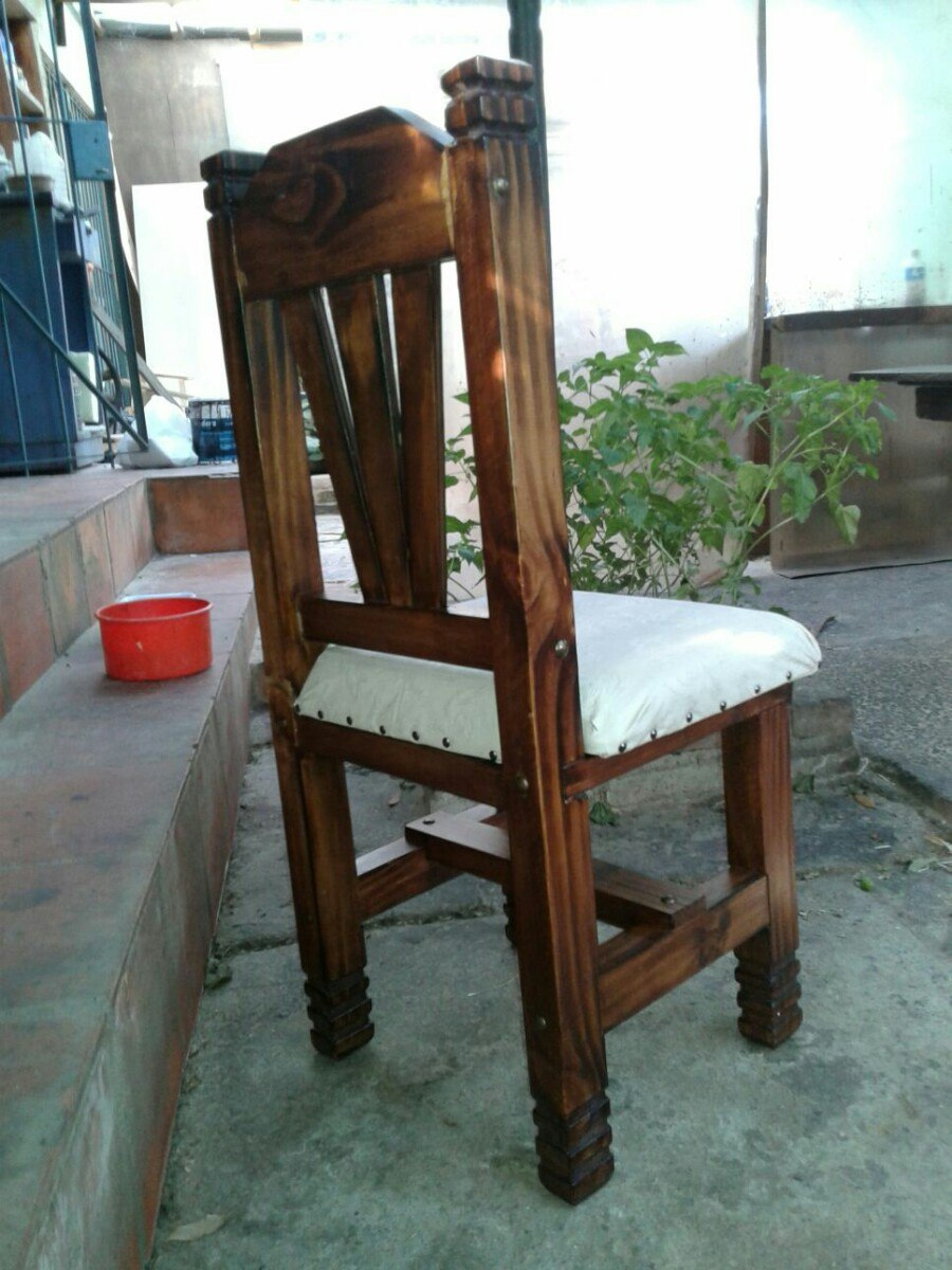 silla rustica tapizada de madera para comedor