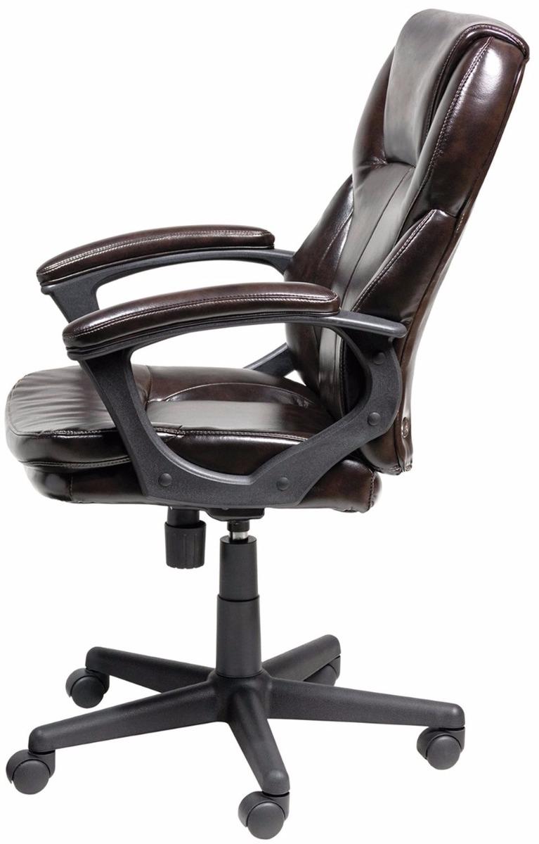 Silla secretarial ergon mica de cuero ejecutiva cafe for Silla ejecutiva ergonomica