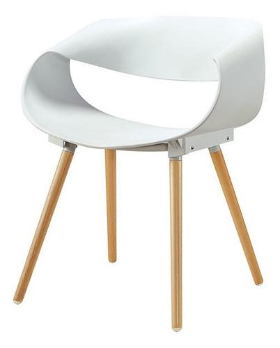 silla sillón deco patas de madera tipo eames blanca