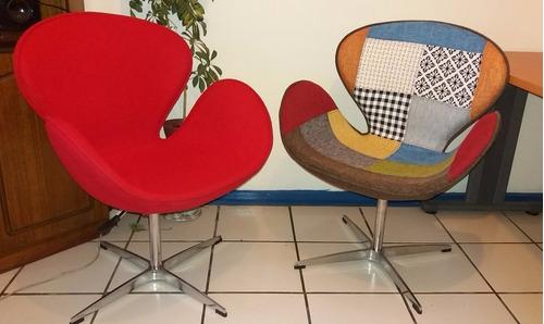 silla sillón modelo swan cisne - rojo italiano y patchwork