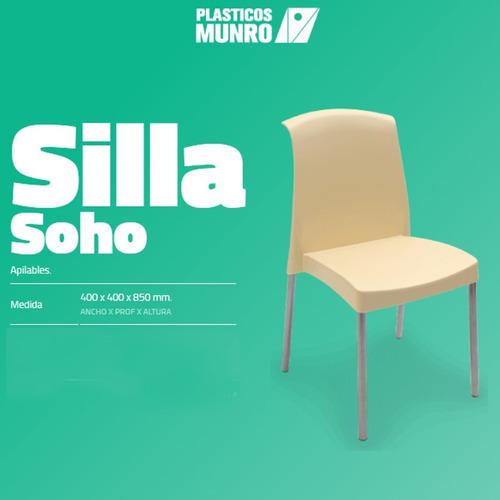 silla soho (negro, verde o marfil) - plásticos munro