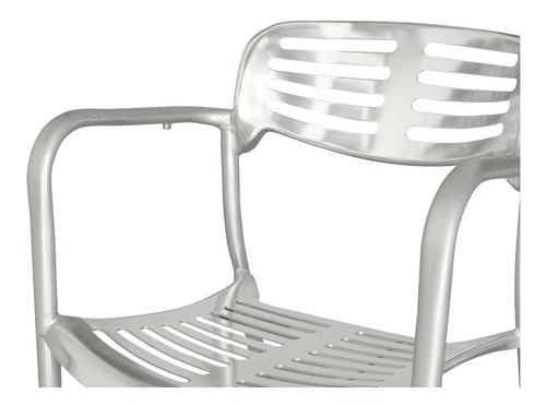silla teo anonizada estructura de aluminio con brazos durex