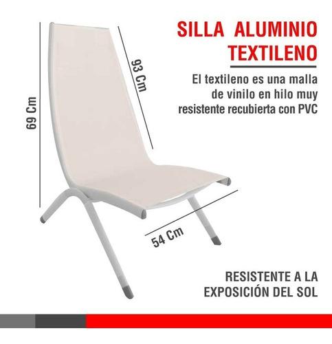 silla textileno de aluminio blanco/ fucsia / verde *2