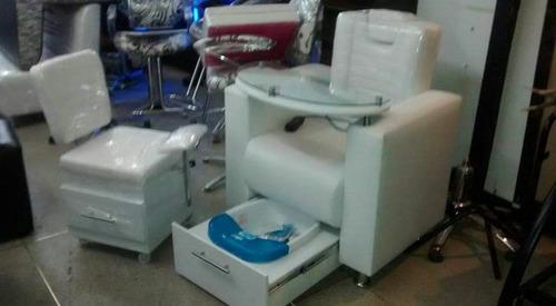silla tipo poltrona para pedicure y manicure completa