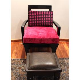 Silla Tipo Retro Completamente Restaurada Rosa Con Negro