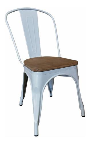 silla tolix asiento madera blanca