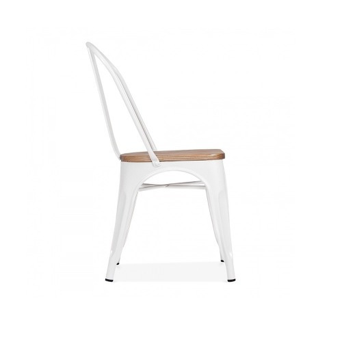 silla tolix fierro base madera blanca  r4563
