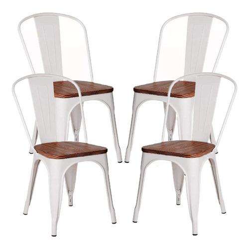 silla tolix madera acero blanca negra 4 sillas hogar casa