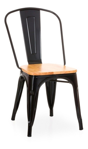 silla tolix negra con madera hogar pub muebles metinca