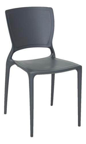 silla tramontina sofia grafito sin brazos con respaldo cerra