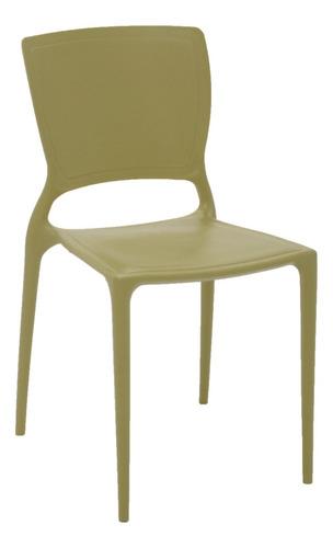 silla tramontina sofia verde sin brazos con respaldo cerrado