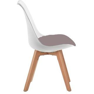 silla tulip con almohadón y base madera