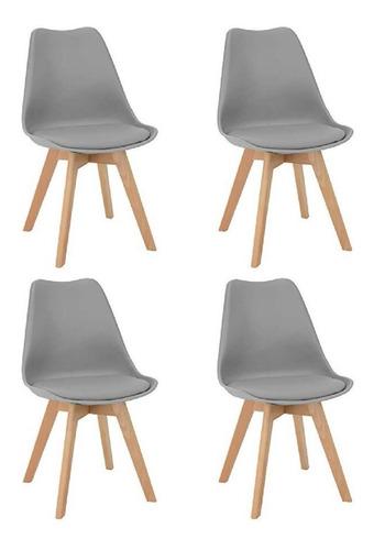 silla tulip eames blanca x4 base madera con almohadon