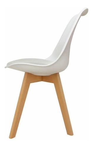 silla tulip eames x 4 unidades con almohadon y patas madera