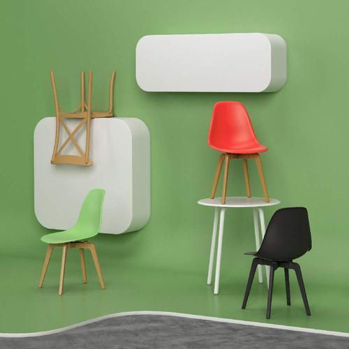 silla woody inspiración eames lote de 2 color rojo econosila