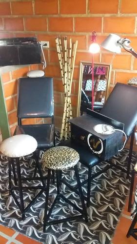 silla y banco para depilar maquillaje cosmetologo