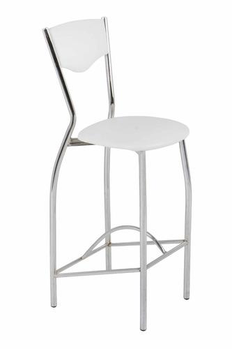 silla/banqueta alta bari tapizada en ecocuero / caño cromado