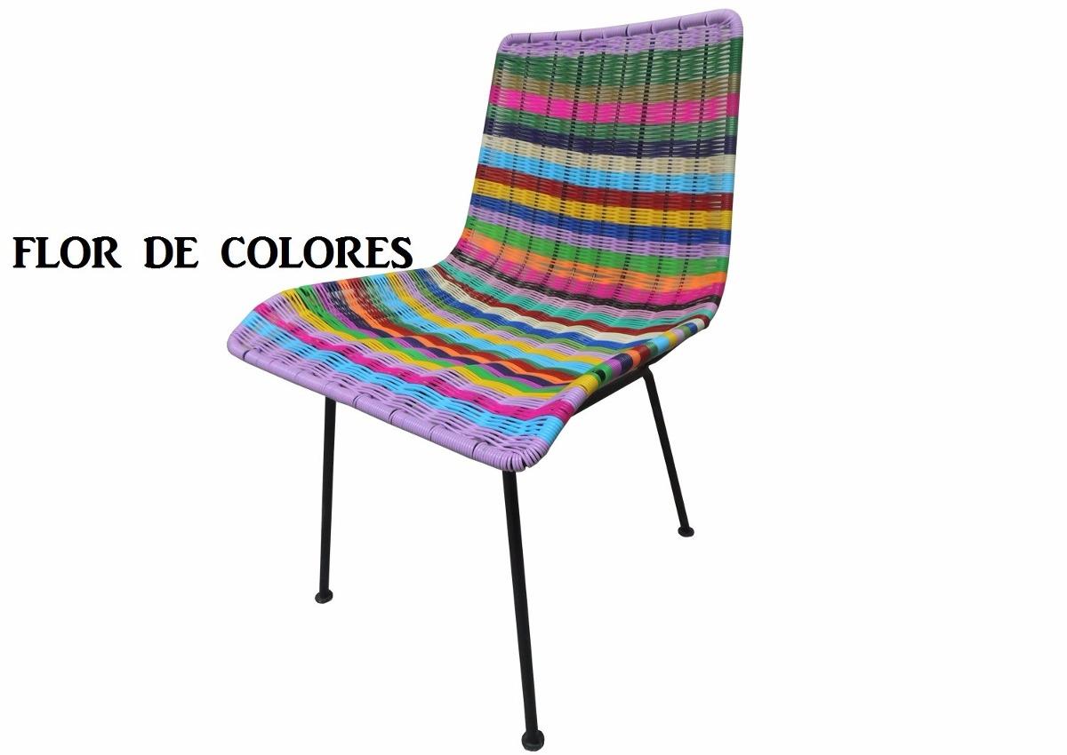 Sillas acapulco vinilos flexibles silla tejida flor for Sillas de plastico para jardin