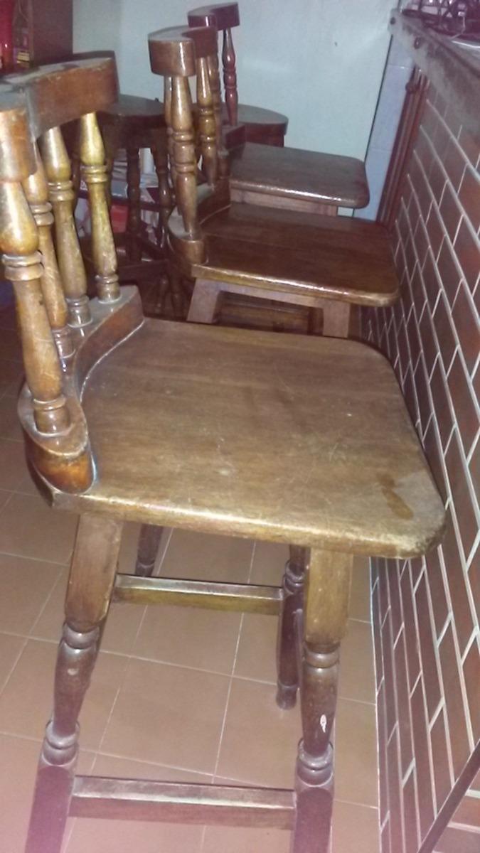 Sillas altas madera torneada con espaldar tipo bar for Sillas tipo bar en madera