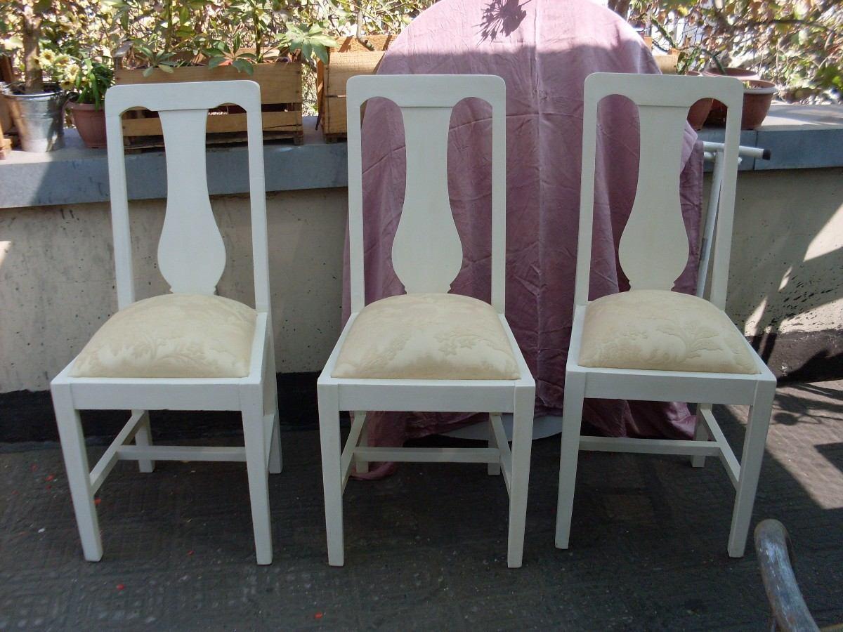 Sillas blancas comedor reci n tapizadas color crema - Sillas blancas comedor ...