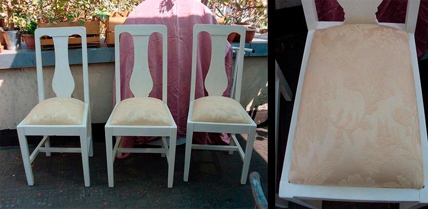 Sillas blancas comedor reci n tapizadas color crema for Sillas blancas tapizadas