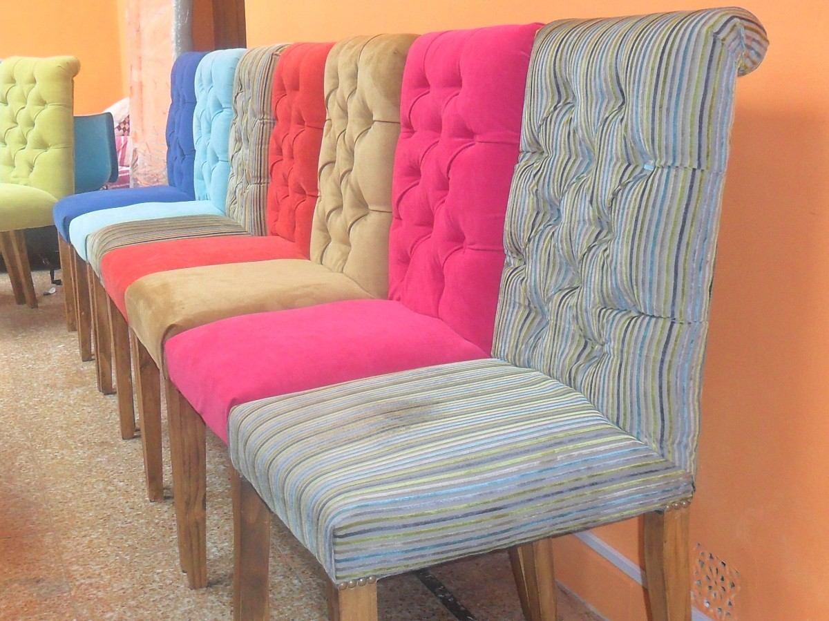 Sillas comedor tapizadas tela great telas para tapizar - Precio tapizar sillas ...