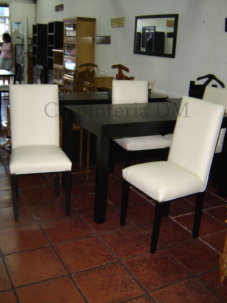 sillas comedor madera tapizadas con cuerina