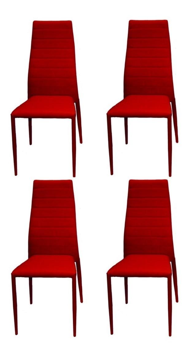Sillas Comedor Tapizadas Ecocuero Rojo Apilables X 4 Outlet