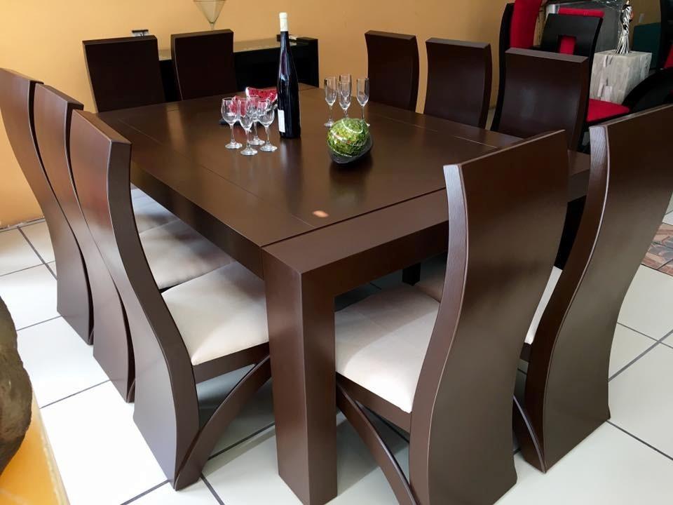 Comedor 10 sillas color nogal comedores moderno 28 599 for Comedor moderno de madera
