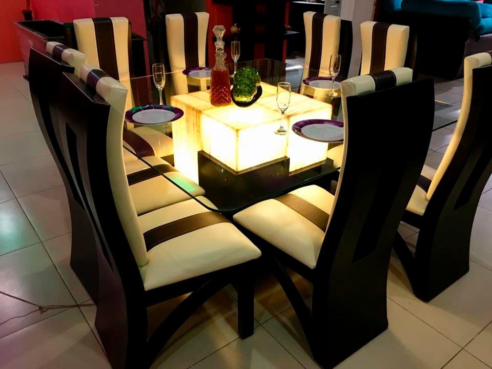 Comedor 8 sillas cristal onix comedores moderno 29 500 for Sillas para chicos