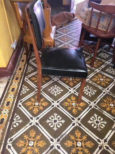 sillas de madera tapizado negro