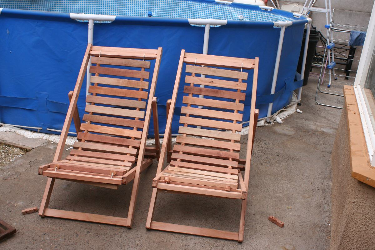 Sillas de playa 100 madera nativa en mercado for Sillas para piscina