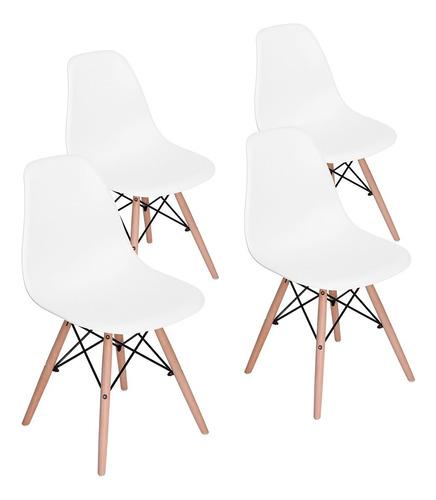 sillas eames set de 4 sillas de comedor rico blanco