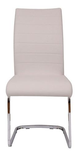 sillas ecocuero modernas brina base cromada pack x 6