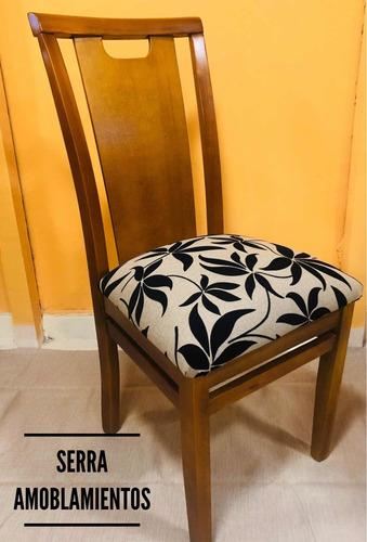 sillas en eucaliptos tapizadas-juego de comedor,madera