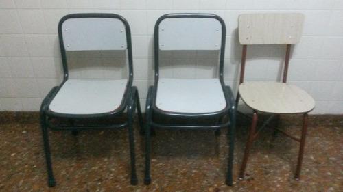 sillas escolares apilables pintadas con epoxi