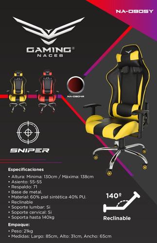 sillas gamer naceb gaming reforzada deportiva sniper
