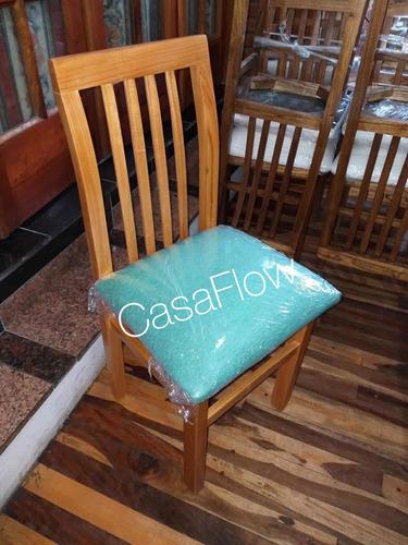 sillas madera paraíso. tapizada chenille premium. oferta