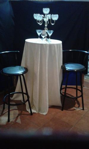 sillas, mesas, mantelería alq.