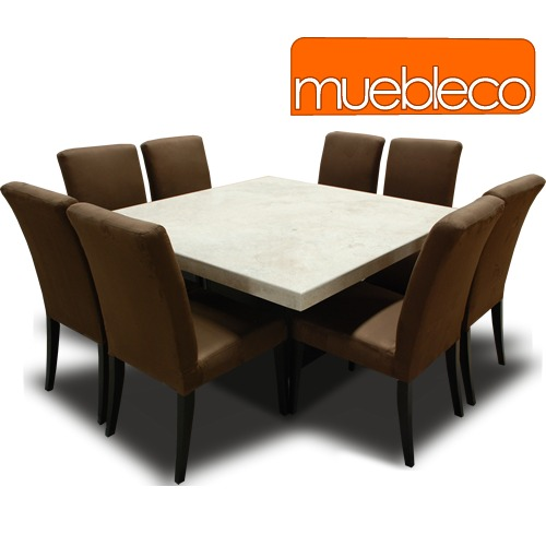 Comedor m rmol 8 sillas muebleco muebles mesa env o gratis for Mesas cuadradas para comedor